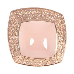 "Valente Rose Gold ""Athena"" Ring 18.47 Carat Rose Quartz 1.05 Carat Diamond"