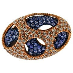 Valente Rose Gold Diamond Sapphire Dome Ring