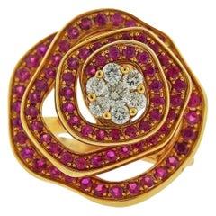 Valente Ruby Diamond Rose Gold Flower Ring