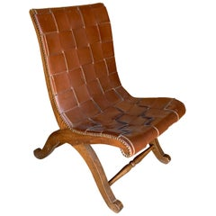 Valenti Brown Woven Leather Chair, Spain, Midcentury
