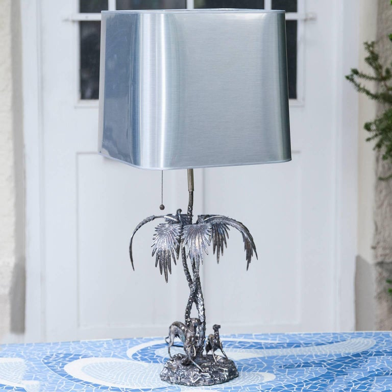 Hollywood Regency Valenti Silver Plated Table Lamp Spain, 1970s For Sale