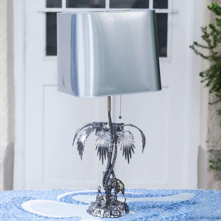 Spanish Valenti Silver Plated Table Lamp Spain, 1970s For Sale