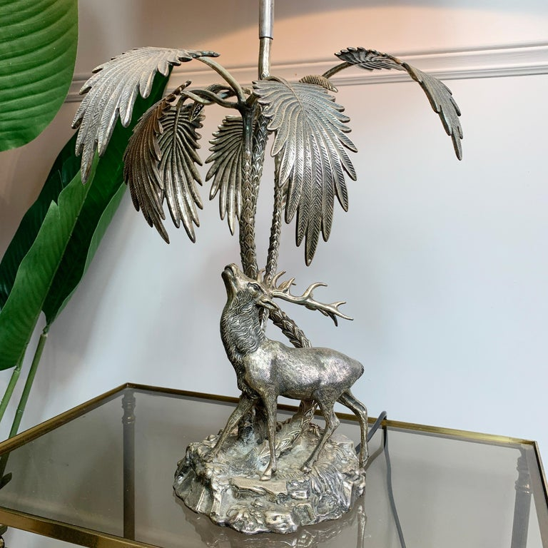Valenti Stag Silver Table Lamp, 1970's For Sale 4