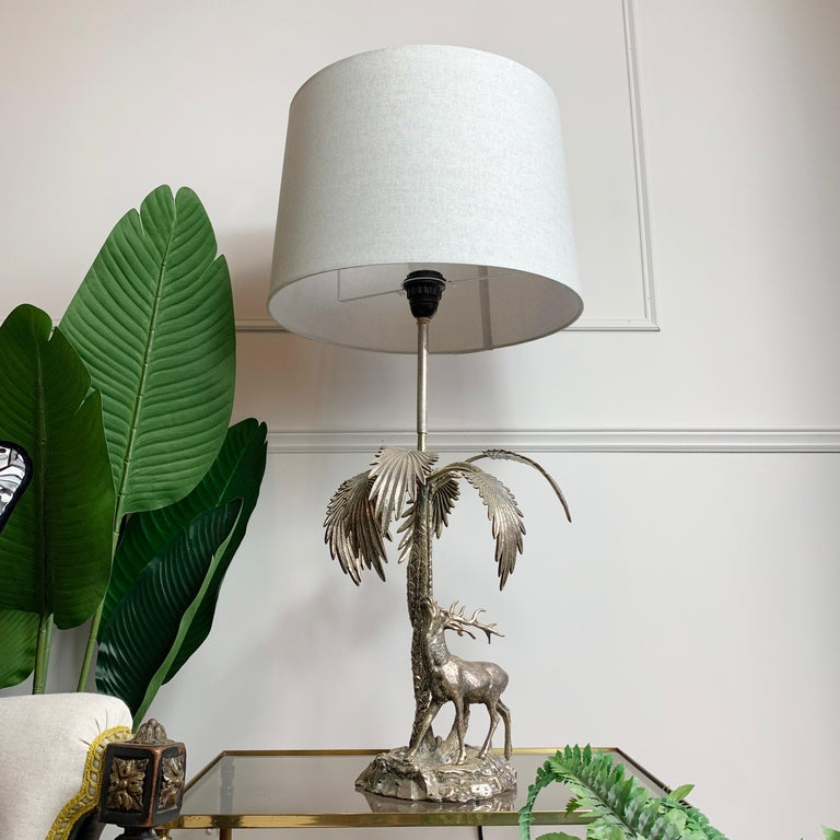 Valenti Stag Silver Table Lamp, 1970's For Sale 5