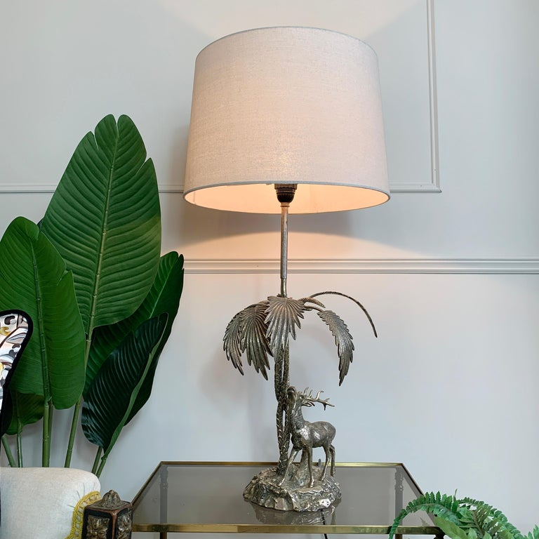 Valenti Stag Silver Table Lamp, 1970's In Good Condition For Sale In Hastings, GB