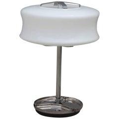 Valenti Table Lamp Murano Art Glass 1970s Steel White Glass  Italian design