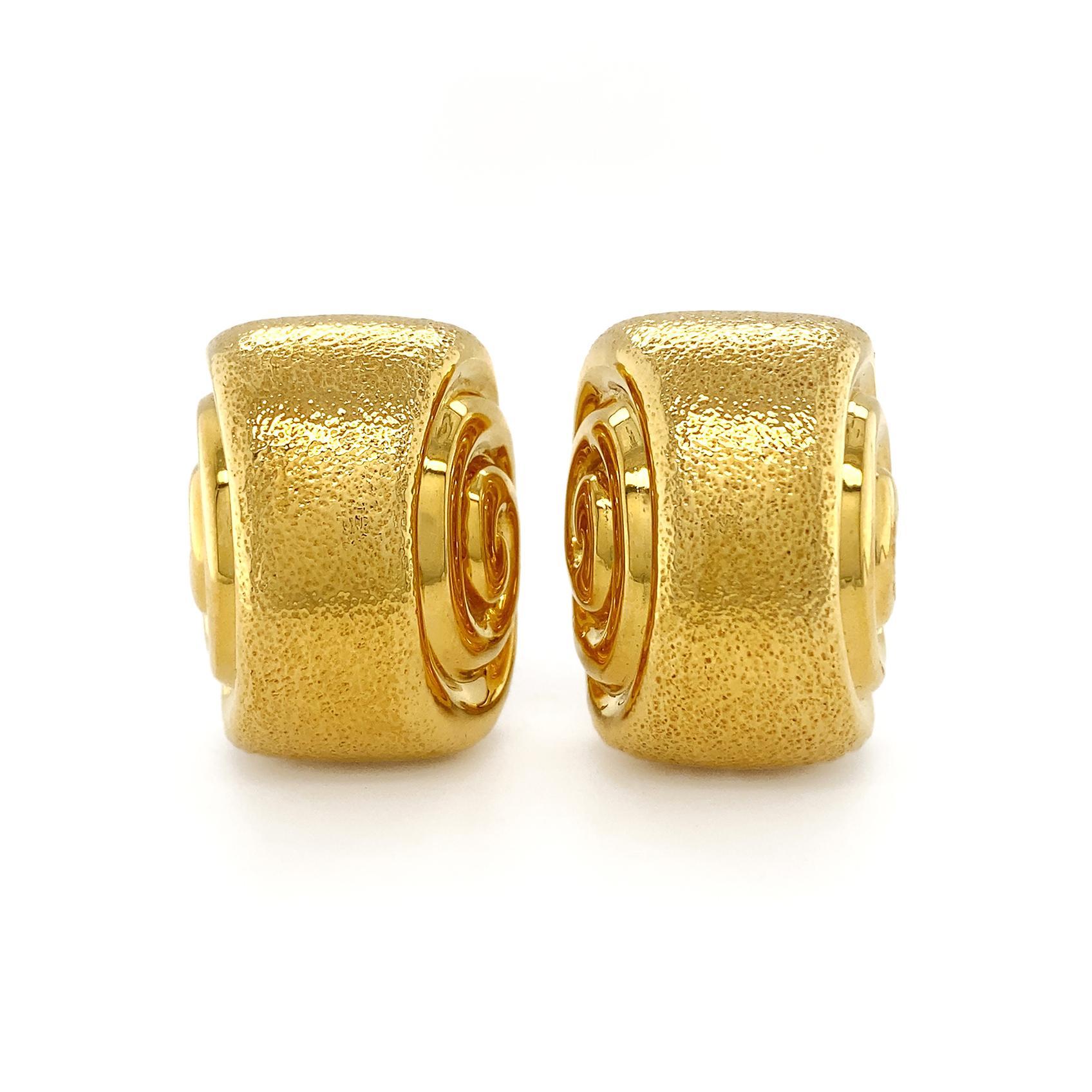 Valentin Magro 18 Karat Yellow Gold Double Swirl Earrings