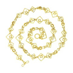 Valentin Magro 18 Karat Yellow Gold Geometric Link Necklace