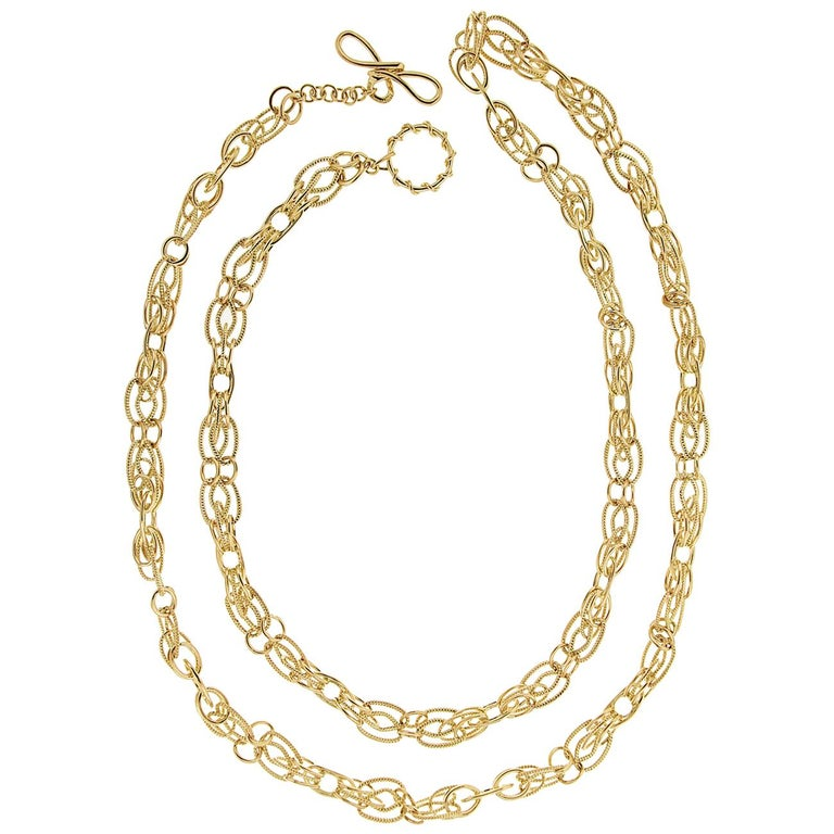 Valentin Magro 18 Karat Yellow Gold Interlocking Chain Necklace For Sale