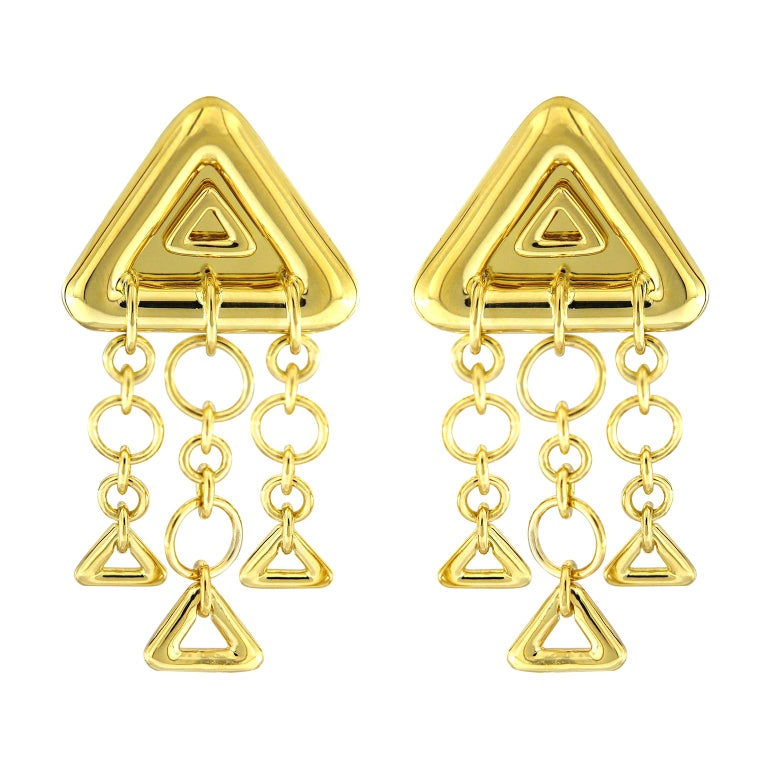 Valentin Magro 18 Karat Yellow Gold Triangular Earrings Displays a Chandelier For Sale
