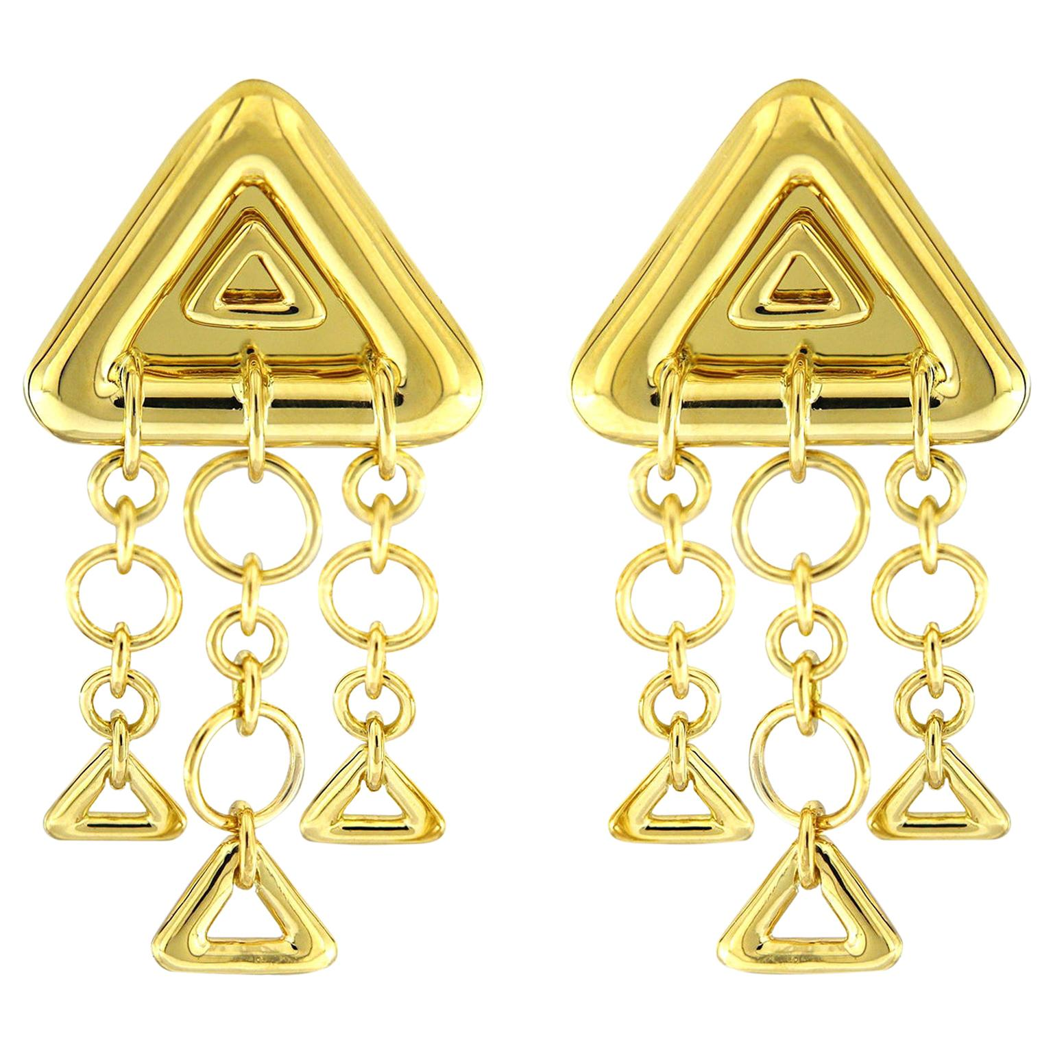 Valentin Magro 18 Karat Yellow Gold Triangular Earrings