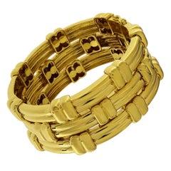 Valentin Magro 18 Karat Yellow Gold Triple Line Woven Bracelet