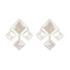 Valentin Magro 18 White Gold Cube Medley Chandelier Drop Earrings