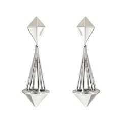 Valentin Magro 18K White Gold Pendulum Pyramid Drop Earrings