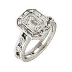Valentin Magro 1.92 Carat Emerald Cut Diamond with Baguette Halo Ring