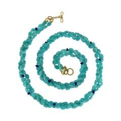 Valentin Magro Amazonite Pebbles and Lapis Rondelles Necklace