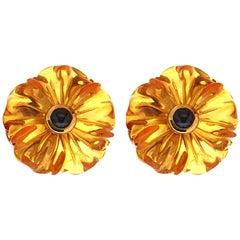 Valentin Magro Amber Sapphire Flower Earrings