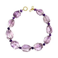 Valentin Magro Amethyst Boulder and Square Amethyst Roundel Necklace