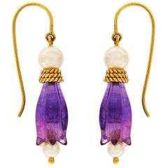 Valentin Magro Amethyst Pearl Tulip Flower Drop Earrings
