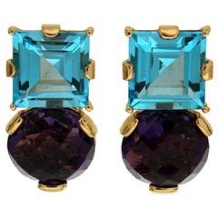 Valentin Magro Amethyst Square Blue Topaz Earrings