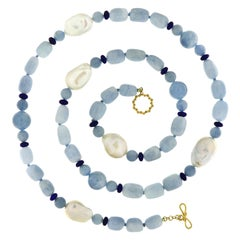 Valentin Magro Aquamarine Fresh Water Pearl Lapis Lazuli Gold Necklace