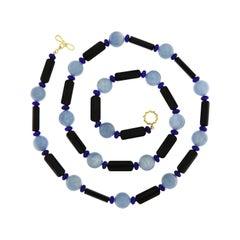 Valentin Magro Aquamarine Lapis Lazuli Onyx 18 Karat Yellow Gold Necklace