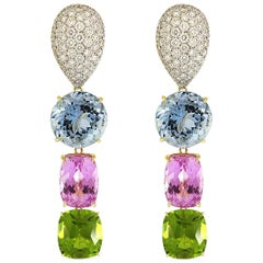 Valentin Magro Aquamarine, Peridot and Kunzite Drop Earrings