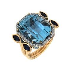 Valentin Magro Aquamarine, Sapphire and Diamond Ring in Yellow Gold
