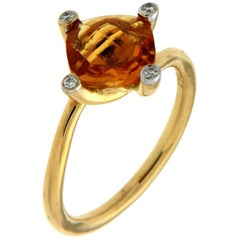 Valentin Magro Asymmetric Cushion Citrine Diamond Gold Solitaire Ring