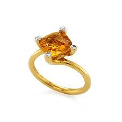 Valentin Magro Asymmetric Cushion Citrine Diamond Gold Solitaire Ring