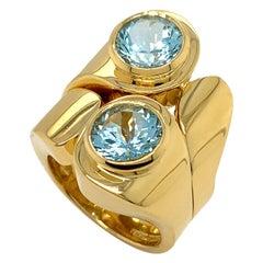Valentin Magro Asymmetrical Aquamarine Ring