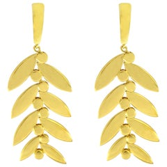 Valentin Magro Athene 18 Karat Yellow Gold Leaf Drop Earrings