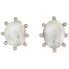 Valentin Magro Baroque Pearl Earrings with Diamonds
