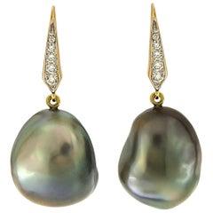 Valentin Magro Baroque Tahitian Pearl Tear Drop Diamond Earrings