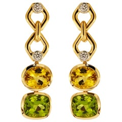 Valentin Magro Beryl, Peridot and Diamond Gold Earrings