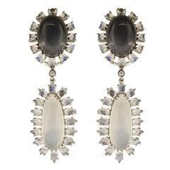 Valentin Magro Black and White Moonstone Earrings