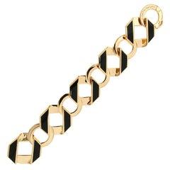 Valentin Magro Black Enamel Gold Fold Over Large Reversible Link Bracelet