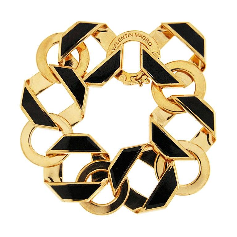 Valentin Magro Black Enamel Gold Fold over Medium Reversible Link Bracelet In New Condition For Sale In New York, NY