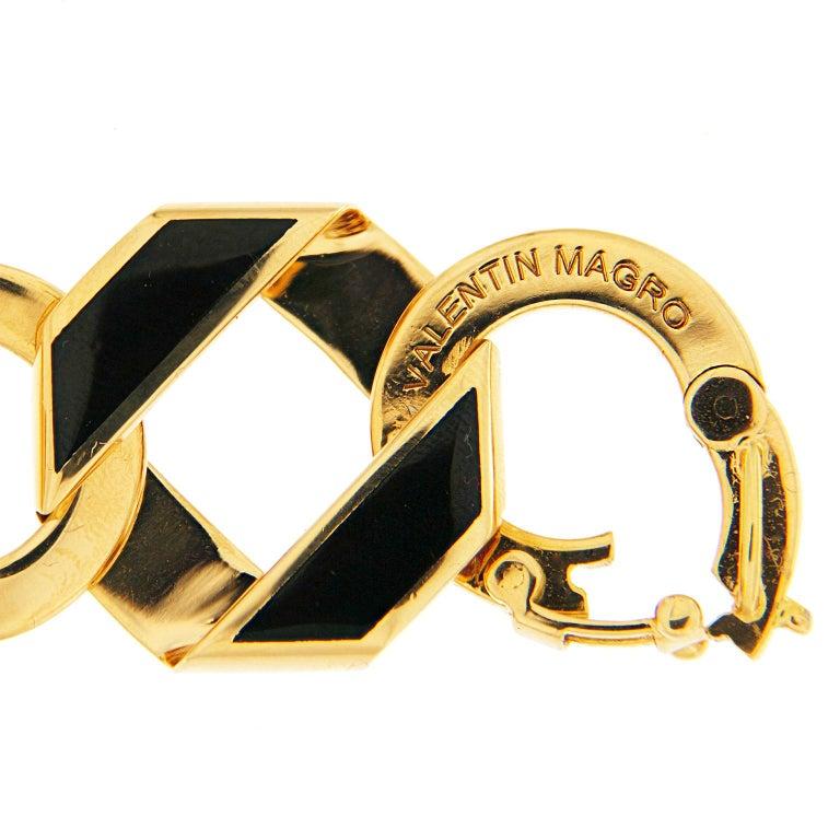 Women's Valentin Magro Black Enamel Gold Fold over Medium Reversible Link Bracelet For Sale