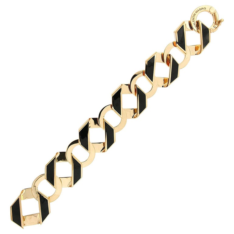 Valentin Magro Black Enamel Gold Fold over Medium Reversible Link Bracelet For Sale