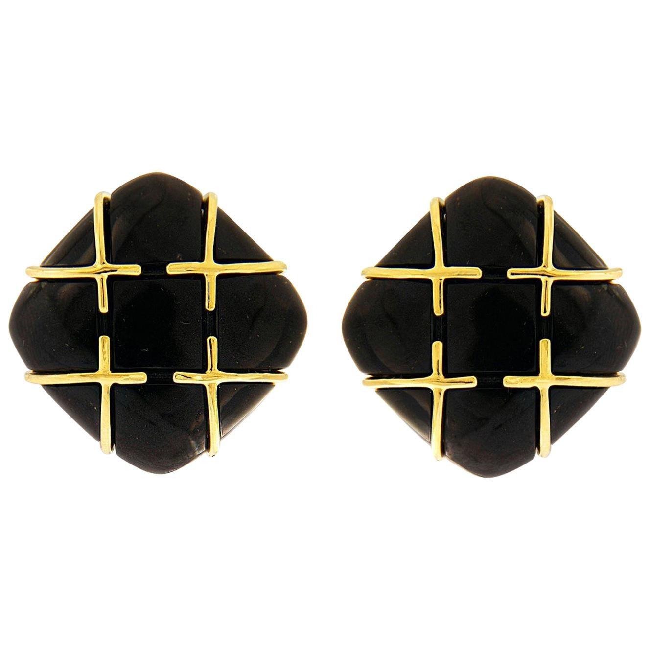 Valentin Magro Black Jade 18 Karat Yellow Gold Earrings