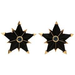 Valentin Magro Black Jade Aquamarine Geometric Star Earrings