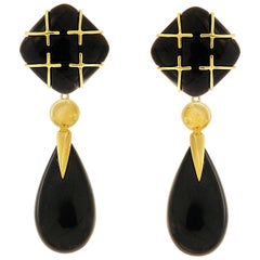 Valentin Magro Black Jade Cushion Cabochon Drop Earrings