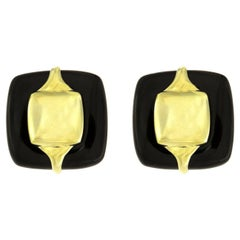 Valentin Magro Black Jade Cabochon 18 Karat Yellow Gold Earrings