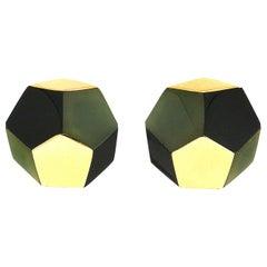 Valentin Magro Black Jade Green Jade Pentagon Earrings
