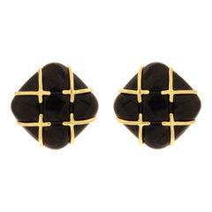 Valentin Magro Black Jade Tic Tac Toe Earrings