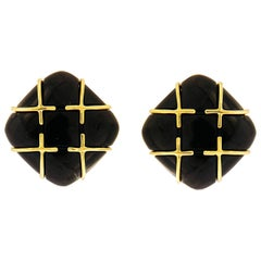 Valentin Magro Black Jade 18 Karat Yellow Gold Earrings