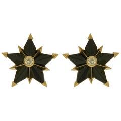 Valentin Magro Black Jade White Sapphire Geometric Star Earrings