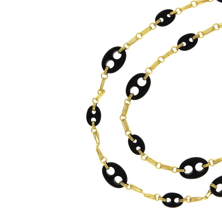 Valentin Magro Black Onyx 18 Karat Yellow Gold Chain Necklace In New Condition For Sale In New York, NY