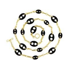 Valentin Magro Black Onyx 18 Karat Yellow Gold Chain Necklace